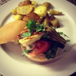 Exberliner Column: Halloumi and Aubergine Burgers with Rosemary Wedges