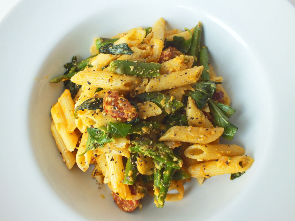 Asparagus and Chorizo Carbonara | A Modern Rose