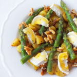 Rosemary Potatoes with Asparagus and Goats Cheese (in a honey mustard dressing)