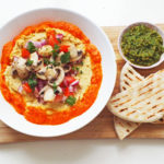 Hummus Plate with Red Pepper Sauce and Grilled Mushrooms