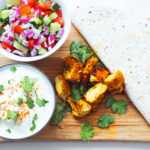 Chicken Tandoori Wraps (with a mixed salad and cucumber raita)