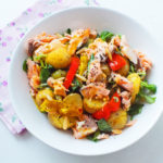 Roasted Pepper and Salmon Potato Salad (with a honey mustard dressing)