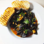 Steamed Mussels in a Tomato and Basil Broth