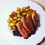Crispy Duck with Rosemary Potatoes and Braised Red Cabbage