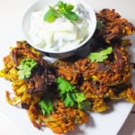 Onion Bhajis with a Cucumber Raita
