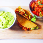 Prawn Tacos with Guacamole and a Tomato Salsa