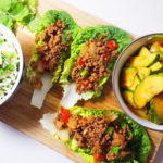 Korean Beef Lettuce Wraps (simple egg fried rice and quick cucumber Kimchi)