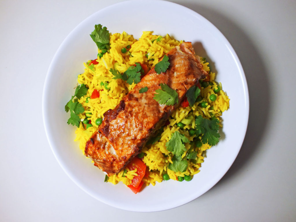 Salmon Tikka with Pilau Rice