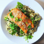 Ginger Salmon with Wasabi and Avocado Wild Rice