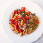 Rosemary and Oregano Pork Chops with White Beans and Bacon