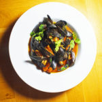 Coriander and Harissa Mussels