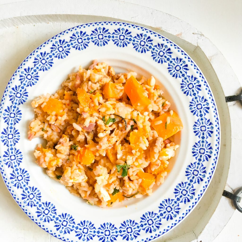 Butternut Squash, Bacon and Goats Cheese Risotto