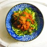 Courgetti with Meatballs in a Tomato and Spinach Sauce