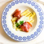 White Asparagus with Cured Ham and a Chive Sauce