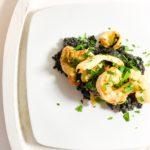 Squid Ink Risotto with Prawns, Scallops and Squid