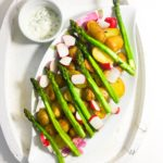 Roasted New Potatoes with Asparagus and Pickled Radishes (and a herb mayonnaise)