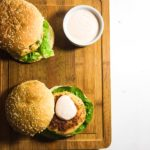 Salmon and Prawn Burger with a Harissa Mayo