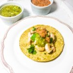 Habanero spiced Prawn Tostadas with Tomatillo Salsa and Chipotle Cream